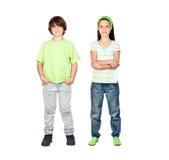 Paar van kinderen status Stock Afbeeldingen