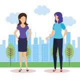 Paar van meisjes in het landschap stock illustratie