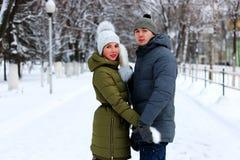 Paar van minnaarsgang in de winterpark stock afbeelding