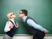Paar van nerds in liefde Stock Foto's