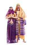 Paar van oosterse die dansers op wit worden geïsoleerd royalty-vrije stock foto