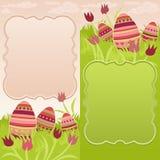 Paar van Pasen-kader met geschilderde eieren Royalty-vrije Stock Afbeeldingen