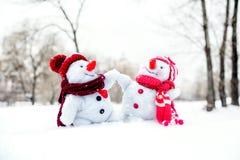 Paar van sneeuwmannen Royalty-vrije Stock Afbeelding