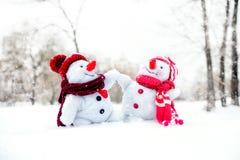 Paar van sneeuwmannen Royalty-vrije Stock Foto
