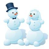 Paar van sneeuwmannen - de bruidegom en de bruid Stock Afbeelding