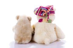 Paar van stuk speelgoed teddyberen van rug Stock Fotografie