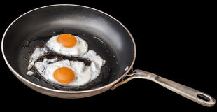 Paar van Sunny Side Up Fried Eggs dat in Oud Op zwaar werk berekend Staal wordt voorbereid die Pan Isolated On Black Background b royalty-vrije stock fotografie