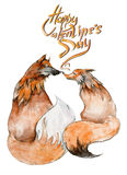 Paar van vossen in liefde op witte achtergrond met het teken ` Gelukkig Valentine ` s dag ` Royalty-vrije Stock Foto