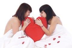 Paar van vrouwen in liefde met hart Stock Foto