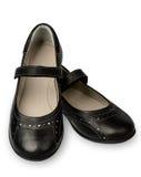 Paar van zwarte geïsoleerd meisjesschoen stock afbeelding