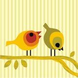 Paar vogels die op een buscar tak worden neergestreken Royalty-vrije Stock Foto