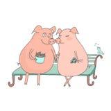Paar von den netten Schweinen, die auf einer Bank, der Vogel sitzen, singt ihr Lied Lizenzfreies Stockfoto