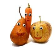 Paar vruchten: Apple en PEER met grote ogen Royalty-vrije Stock Afbeeldingen