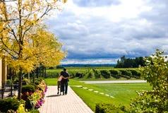 Paar in wijngaard Stock Afbeeldingen
