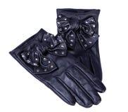 Paar zwarte leerhandschoenen Stock Afbeeldingen