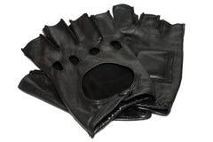 Paar zwarte leerhandschoenen stock afbeelding