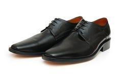 Paar zwarte mannelijke schoenen stock foto's