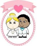 Paarbruid tussen verschillende rassen en bruidegom stock illustratie