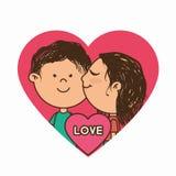 Paarcharaktere mit Herzliebe Lizenzfreie Stockfotografie
