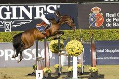 Paard die - CSIO Barcelona springen Royalty-vrije Stock Afbeeldingen