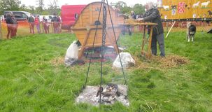 Paard die een dorser werken bij Shanes-van de de Stoomverzameling van de Kasteelmeidag het Landgoed Antrim Noord-Ierland 6de Mei  stock video