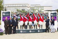 Paard die - het team van de V.S. springen Royalty-vrije Stock Afbeelding