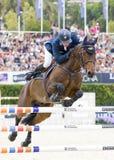 Paard die - Jens Fredricson springen Royalty-vrije Stock Afbeelding