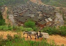 Paard die kar met landbouwer trekken, tegen achtergrond van Chinees vi Stock Afbeeldingen