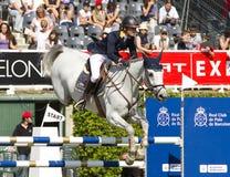 Paard die - Katharina Offel springen Stock Foto