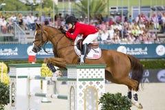 Paard die - Katherine Dinan springen Stock Foto