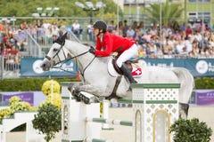 Paard die - Steve Guerdat springen Royalty-vrije Stock Foto
