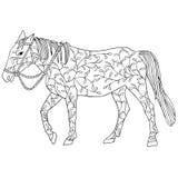 Paard in doodl zwart bloemenontwerp dat op witte achtergrond wordt geïsoleerd Stock Foto