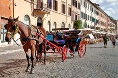 Paard en bus die bij Piazza Navona wachten Royalty-vrije Stock Foto