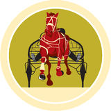 Paard en Jockey Harness Racing Retro Royalty-vrije Stock Foto's