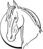 Paard en maan Paard akhal-Teke op de achtergrond van de maan Paard` s hoofd Santa Claus en een meisje - de lente Voor het kleuren stock illustratie