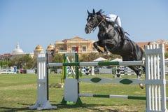 Paard en ruiter die in de ruiterconcurrentie springen Royalty-vrije Stock Foto