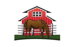 Paard en schuur Stock Foto's