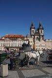 Paard en vervoer in Praag Stock Fotografie
