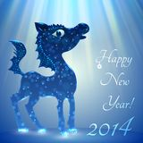 Paard. Gelukkig nieuw jaar 2014. Vectoreps 10. Stock Fotografie