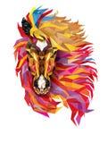 Paard Geometrisch patroon, Fabelachtig haar van paard lage veelhoek, Vec stock illustratie