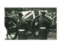 Paard getrokken doodskist van Winston Churchill dertigste Januari 1965 stock foto's