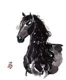 Paard het oosterse inkt schilderen, sumi-e Stock Afbeeldingen