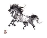 Paard het oosterse inkt schilderen, sumi-e Stock Foto