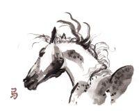 Paard het oosterse inkt schilderen, sumi-e Royalty-vrije Stock Afbeeldingen