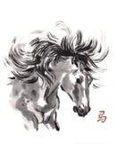 Paard het oosterse inkt schilderen, sumi-e Stock Afbeelding