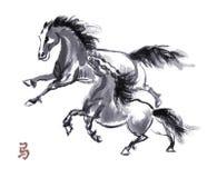Paard het oosterse inkt schilderen, sumi-e Royalty-vrije Stock Foto
