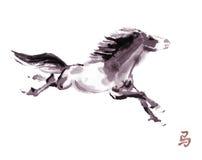 Paard het oosterse inkt schilderen, sumi-e Royalty-vrije Stock Foto's