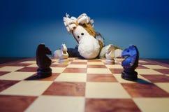 Paard het spelen schaakpaarden Royalty-vrije Stock Afbeelding