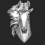 Paard, hoss, ridder, ros, courser De wilde hoed van de het westen Traditionele Amerikaanse cowboy De rodeo van Texas Druk voor ki vector illustratie