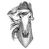 Paard, hoss, ridder, ros, courser dragend van de het jaarvooravond van de Kerstmishoed Nieuwe Vrolijke Kerstmis en het gelukkige  vector illustratie
